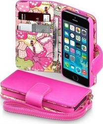 Terrapin Leather Wallet για Apple iPhone 5/5S Pink with Floral Interior