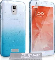 YouSave Accessories Raindrop Hard Case Blue-Clear (Galaxy S6)