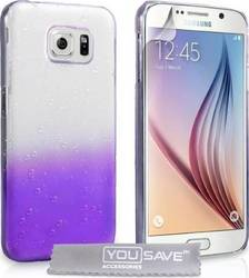 YouSave Accessories Raindrop Hard Case Purple-Clear (Galaxy S6)