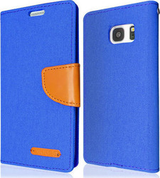 Okkes Fabric Book Case Blue (Galaxy S7)