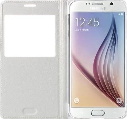 ad593c584a Προσθήκη στα αγαπημένα menu Book Case δερμάτινη Smart Cover Λευκό (Samsung  Galaxy S6)