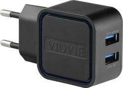 Vidvie 2x USB Wall Adapter & micro USB Cable Μαύρο (PLE202)