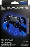 Ardistel Silicone Case Camouflage Black/Blue & Thumb Grips Blue PS4