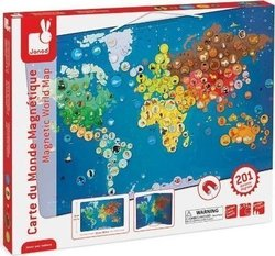 Magnetic World Map Animals with Coloring Book 201pcs (02889) Janod