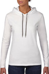 Womens Fashion Basic LS Hooded Tee Anvil 887L - White/Dark Grey