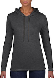 Womens Fashion Basic LS Hooded Tee Anvil 887L - Heather Dark Grey/Dark Grey