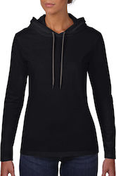 Womens Fashion Basic LS Hooded Tee Anvil 887L - Black/Dark Grey
