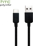 HTC Regular USB 2.0 Cable USB-C male - USB-A male Μαύρο 1m (73H00621)