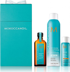 Moroccanoil Cleanse & Go Holiday Gift Set Oil Treatment 100ml & Dry Shampoo Light Tones 205ml & Luminous Hairspray Strong 75ml