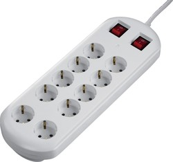 HAMA 10-way Power Strip 2 Switches White 2m 00137232