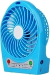 USB Fan with Rechargeable Battery with Light Blue