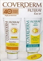 Coverderm Filteray Face SPF40 Tinted Light Beige 50ml & Skin Repair Cream 50ml