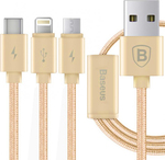 Baseus Braided USB to Lightning/USB-C/micro USB Cable Χρυσό 1.2m (CAMCLGTC-PM0R)