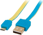 Manhattan Flat USB 2.0 to micro USB Cable Blue/Yellow 1m (391436)