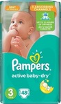 Pampers Active Baby Dry No3 (5-9Kg) 48 τμχ