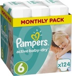 Pampers Active Baby Dry No6 (15+Kg) 124 τμχ