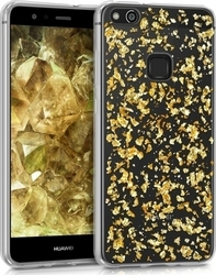 KW Back Cover Σιλικόνης Flakes Gold Transparent (Huawei P10 Lite)