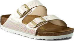 Birkenstock Arizona Birko-Flor Shiny Snake Cream Narrow Fit