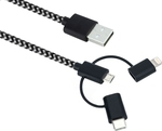 Sandberg Braided USB to Lightning/Type-C/micro USB Cable Μαύρο 1m (441-01)