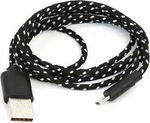 Braided USB 2.0 to micro USB Cable Μαύρο 1m (5632812)