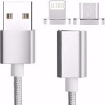 OEM Braided / Magnetic USB to Lightning / micro USB Cable Γκρι 1m (BO-X28-2)