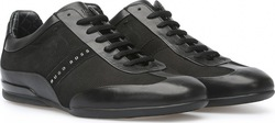 BOSS GREEN LEATHER SNEAKERS SPACE SELECT BLACK