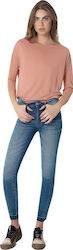 Pink woman 3052.217 jean Light Blue Denim Pink woman