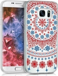 KW Arctic Snowflake Red Blue Transparent (Galaxy S7)