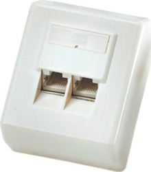 Roline Surface Mount Wall Jack 2xCat.5e Unshielded White 25.16.8406