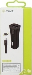 Muvit Pack Black Car Charger 2 Usb 2.4a + Cable Micro Usb