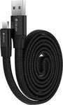 Devia Ring Y1 Braided / Flat USB 2.0 to micro USB Cable Μαύρο 0.8m (1832)