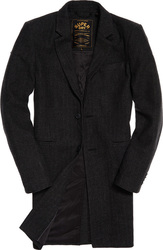 Superdry Camden Over Coat Charcoal Herringbone