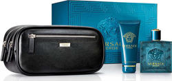 Versace Eros 100ml Eau de Toilette, Shower Gel 100ml & Cosmetic Bag