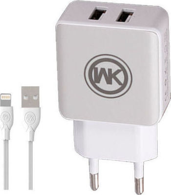 WK Lightning Cable & Wall Adapter Λευκό (WP-U11)