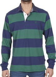 163afe1dd1c1 Ανδρικό Μακρυμάνικη Ριγέ Μπλούζα με Γιακά POLO SANTANA SW16-1-100 Πράσινο