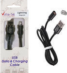 Volte-Tel Braided / Magnetic USB to Lightning Cable Μαύρο 1m (VCD07)