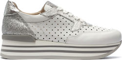 JANET & JANET ΔΕΡΜΑΤΙΝΑ RUNNING SNEAKERS - Ασημί 0594172640/WHITE-SILVER
