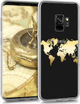 KW World Map Back Cover Σιλικόνης Gold (Galaxy S9)