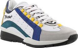 DSQUARED2 551 SNEAKERS LEATHER BIANCO+ BLU+YELLOW