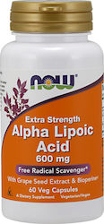 Now Foods Alpha Lipoic Acid Extra Strength 600mg 60 φυτικές κάψουλες