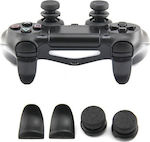 Extended Trigger R2 L2 Black & FPS Grips Caps Black PS4