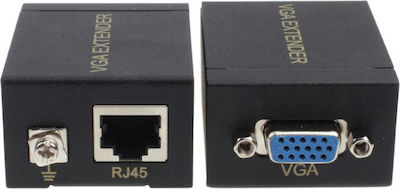 Powertech VGA Signal Extender, Digital to Analog L/R Audio, έως 60m SLOT-019