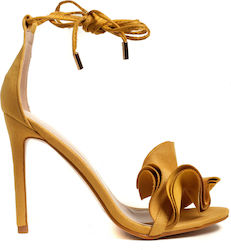 Public Desire Heel Sandals Sugar-Yellow (Πέδιλα Γυναικείο Synthetic Polyester Yellow - Sugar)