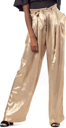 J'aime Les Garcons Pants-Gold (Παντελόνια Γυναικείο Synthetic Polyester Gold - G7056- S18G7056)