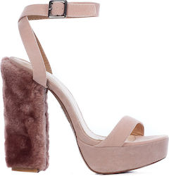 Public Desire Analise Faux Fur Heel Platforms-Pink (Πέδιλα Γυναικείο Synthetic Polyester Ρόζ - Analise)