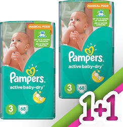 Pampers Active Baby Dry No3 (5-9Kg) 2x68τμχ