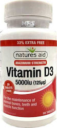 Natures Aid Vitamin D3 5000iu 80 ταμπλέτες