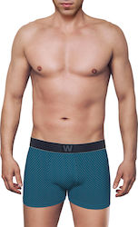 MEN'S BOXER BAMBOO BRIEF WITH PRINT ΡΑΦ 2- ΜΠΛΕ ΣΚΟΥΡΟ - W1770-6