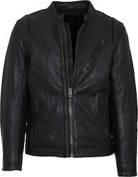 PEPE JEANS M CULPEPER LEATHER JACKET - PM401855-999 BLACK