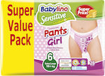 Babylino Sensitive Pants Girl No 6 (16+kg) 28τμχ
